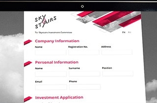 development of the application form to apply for the investment. | Application form for Skystairs investment fund