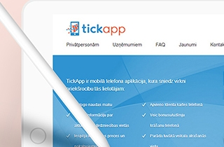 development of the web page to promote mobile application. | Tickapp company website