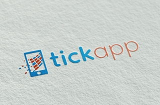 development of logo and corporate style for mobile application. | Tickapp logo